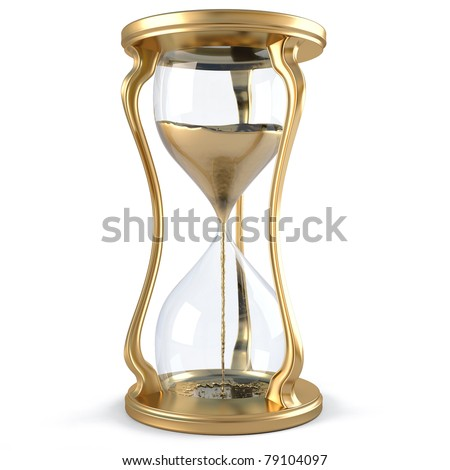 gold hourglass with golden stream flowing down. isolated on white. - stock photo