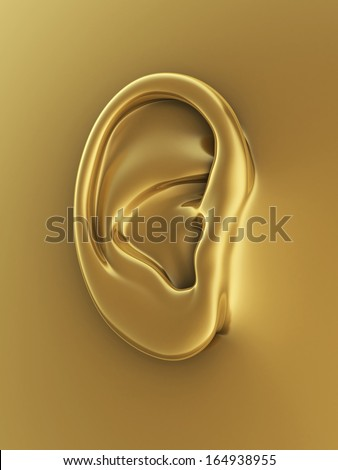 Gold human ear render (closeup)