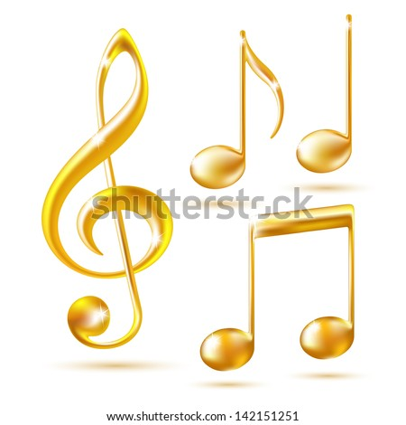 Gold icons of a Treble clef and music notes. - stock photo
