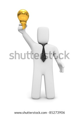 Gold idea. Person hold lightbulb