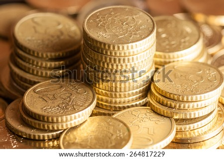 gold identical coin close up - stock photo