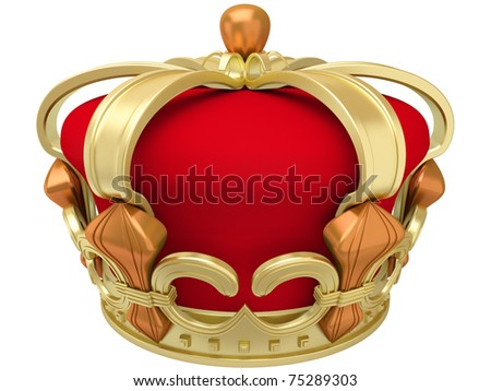 Gold imperial crown isolated on a white background - stock photo