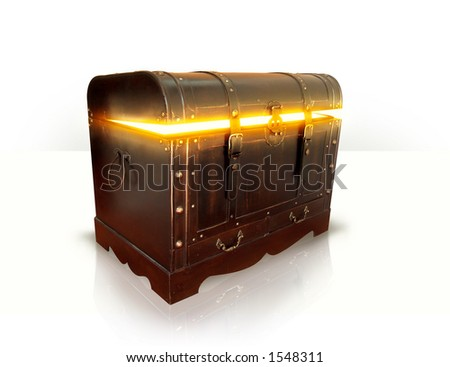 gold in old wooden treasure - stock photo