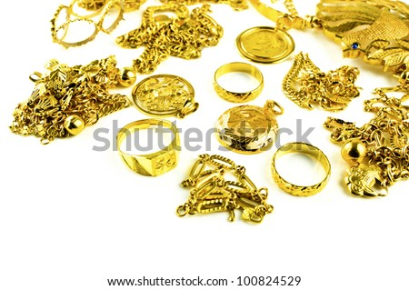 Gold in varies jewelry form on white isolated background - stock photo