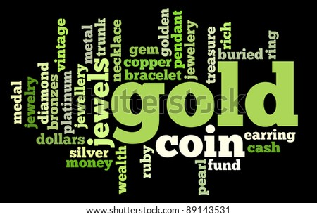 Gold info-text graphics and arrangement concept on black background (word clouds)