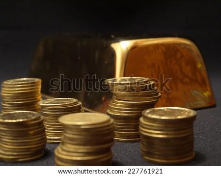 Gold ingot   - stock photo