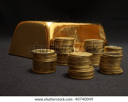 gold ingot - stock photo