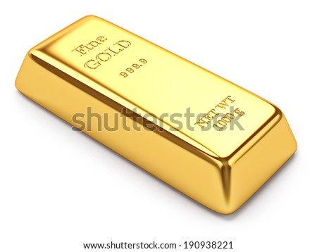 Gold ingot isolated on white background - stock photo