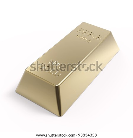 Gold ingot isolated on white. Computer generated 3D photo rendering. - stock photo