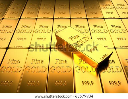 Gold Ingot - this is a 3d render illustation - stock photo