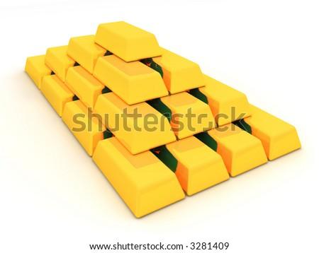 Gold ingots. 3d - stock photo