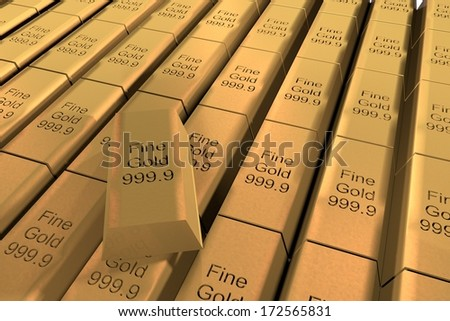 "Gold ingots in rows, with text ""Fine Gold 999.9"", 3d render - stock photo"