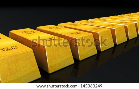 gold ingots isolated on black background - stock photo