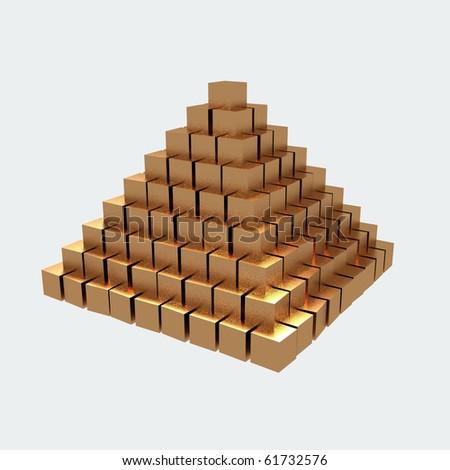 Gold ingots isolated on white background. - stock photo