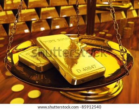 Gold ingots on brass scale ,3d illustration - stock photo