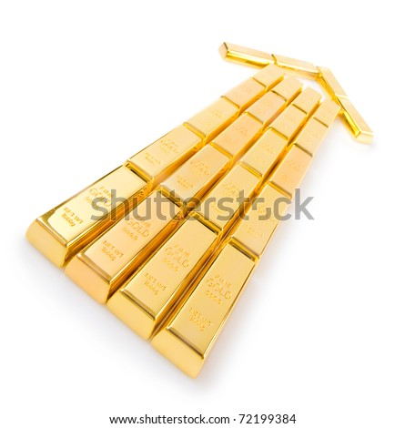 Gold ingots stacked in the form of the arrow. Isolated on white background - stock photo