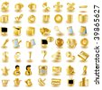 Gold interface icons - stock photo