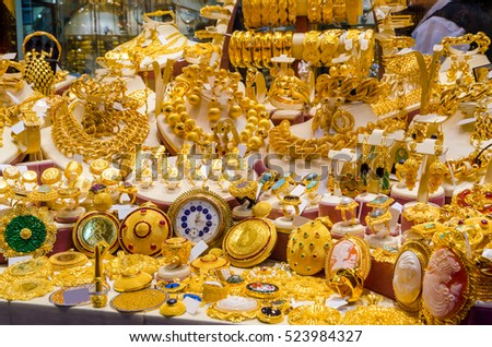 Gold Jewelry Egyptian Bazaar Grand Bazaar Stock Photo Safe to Use
