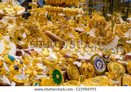 Gold Jewelry Egyptian Bazaar Grand Bazaar Stock Photo 523986991