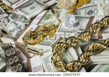Gold Jewelry Bling Money Stock Photo Safe to Use 330474197
