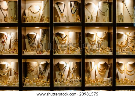 gold jewelry store - stock photo