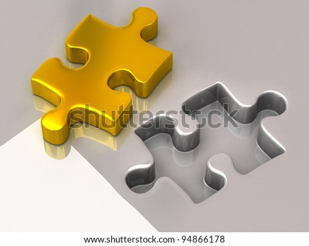 Gold jigsaw puzzle piece - stock photo
