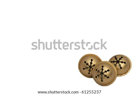 Gold Jingle Bells on white background - stock photo