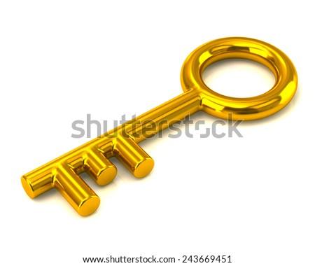 Gold key - stock photo