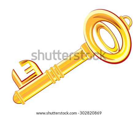 Gold key from door on white background is insulated.Raster version of artwork - stock photo