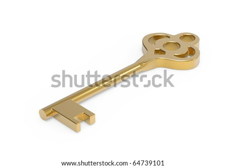 Gold key from house isoladed on white - stock photo