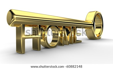 Gold key, home concept illustration - stock photo
