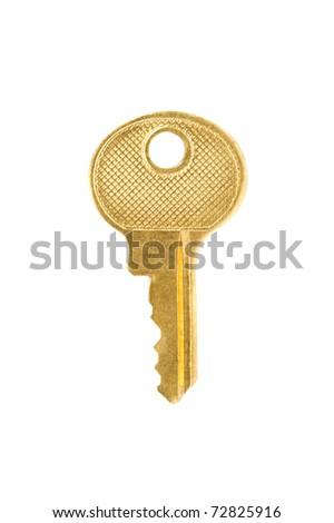 Gold Key Isolated on White Background - stock photo