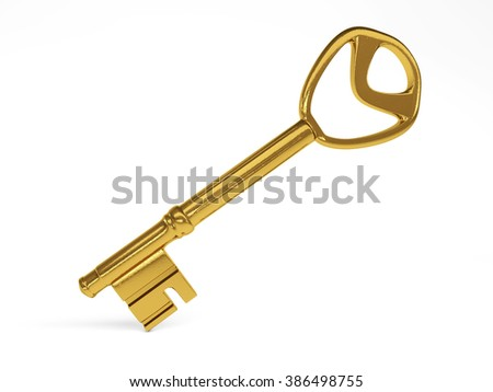 Gold Key on white background. 3d rendering
