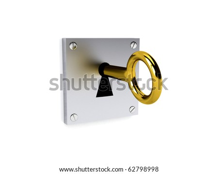 Gold key over white, 3d rendered image - stock photo