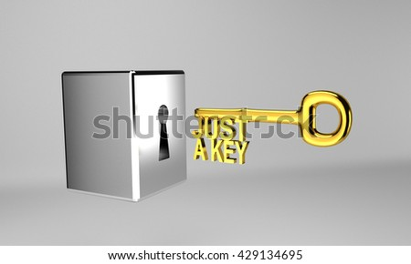 gold key to unlock successful in 3d rendering - stock photo