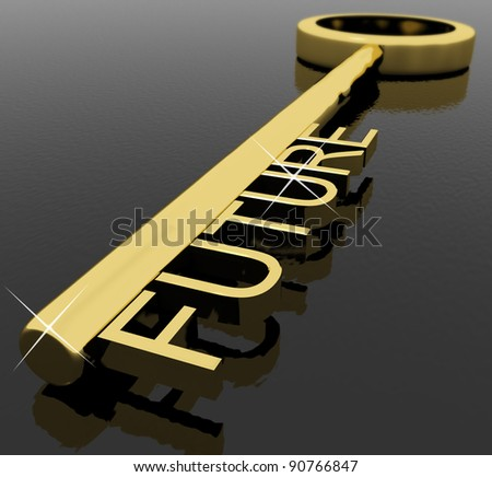 Gold Key With Future Text As Symbol For Destiny Or Target