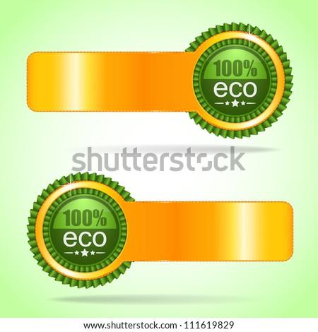 Gold label. 100% eco. - stock photo