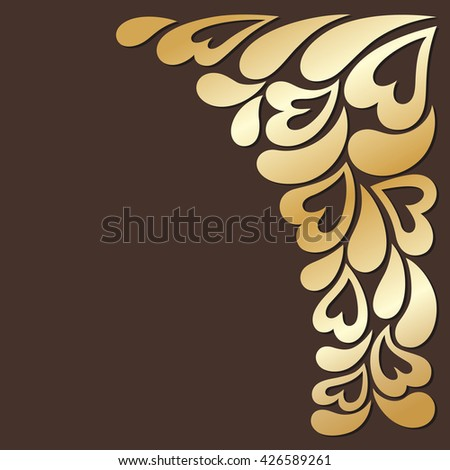 gold lace leaves, flowers and hearts .floral design element in retro style for greeting cards, invitations - stock photo