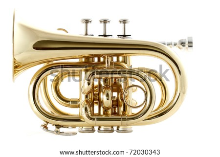 gold lacquer pocket trumpet with mouthpiece - stock photo