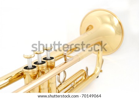 gold lacquer trumpet closeup on valves