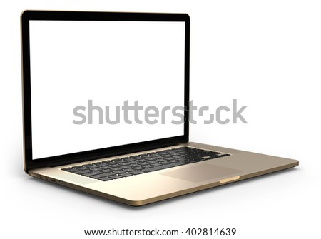 Gold laptop with blank screen isolated on white background, white aluminium body.Whole in focus. 3d illustration.