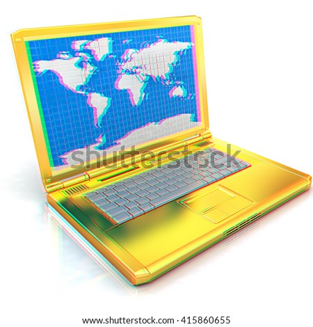 Gold laptop with world map on screen on a white background. 3D illustration. Anaglyph. View with red/cyan glasses to see in 3D. - stock photo