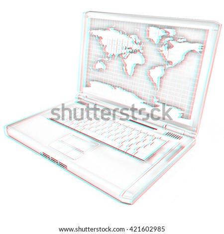 Gold laptop with world map on screen on a white background. Pencil drawing. 3D illustration. Anaglyph. View with red/cyan glasses to see in 3D. - stock photo