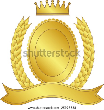 Gold laurel wreath and medallion with a crown - stock photo