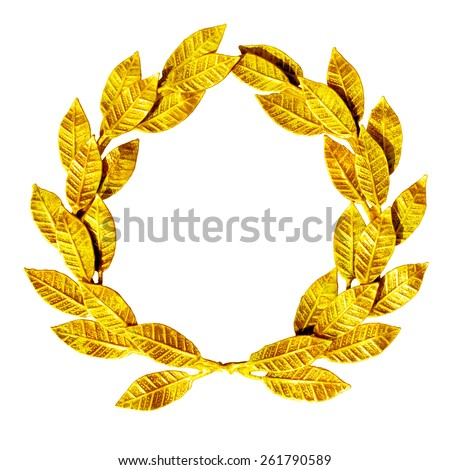 Gold laurel wreath isolated on white.