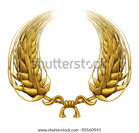 Gold laurel wreath of golden wheat as a award and success of winning and a certified  achievement as a decorative element made of twisted 3d wheat grass and harvested food grain as a symbol of health. - stock photo