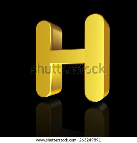 Gold letter H in 3D isolated on black background - stock photo