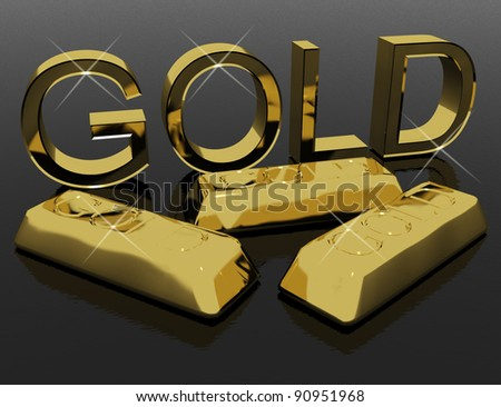 Gold Letters And Bars As Symbol For Success Or Riches - stock photo