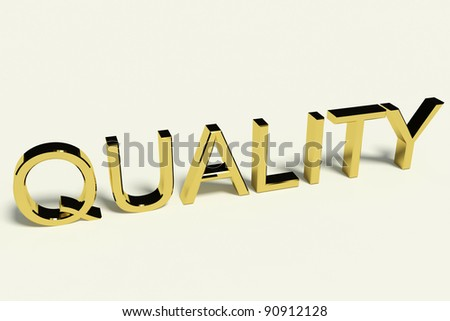 Gold Letters Spelling Quality With A Shiny Finish Representing Excellence And Perfection - stock photo