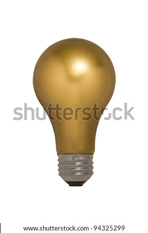 Gold Light Bulb Floating Against a White Background - stock photo